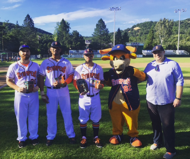 Sean Conroy, Daniel Baptista, and Mark Hurley were given 2015 Pacific Association League awards during pre-game festivities.    Geoff Safford/Sonoma Stompers