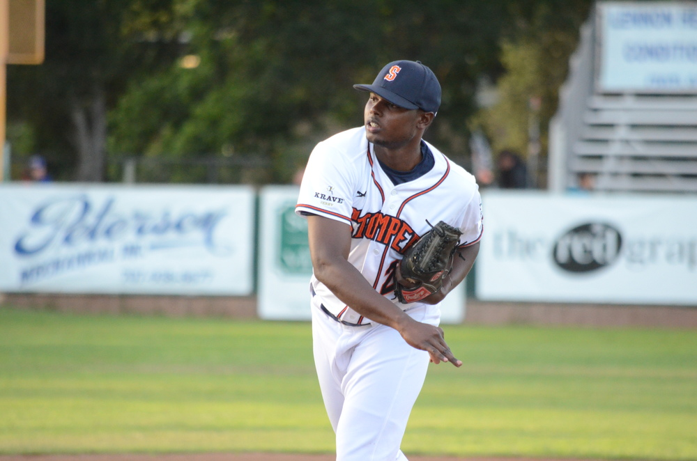 Gregory Paulino threw 7 1/3 great innings in the Stompers 4-3 victory on Wednesday.   James Toy III/Sonoma Stompers