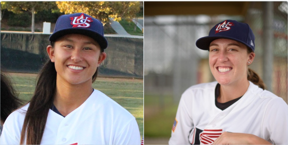 Team USA Members Kelsie Whitmore and Stacy Piagno join the Sonoma Stompers on Friday, creating the first true co-ed baseball team in over 60 years. JP Raineri/Rob Futrell