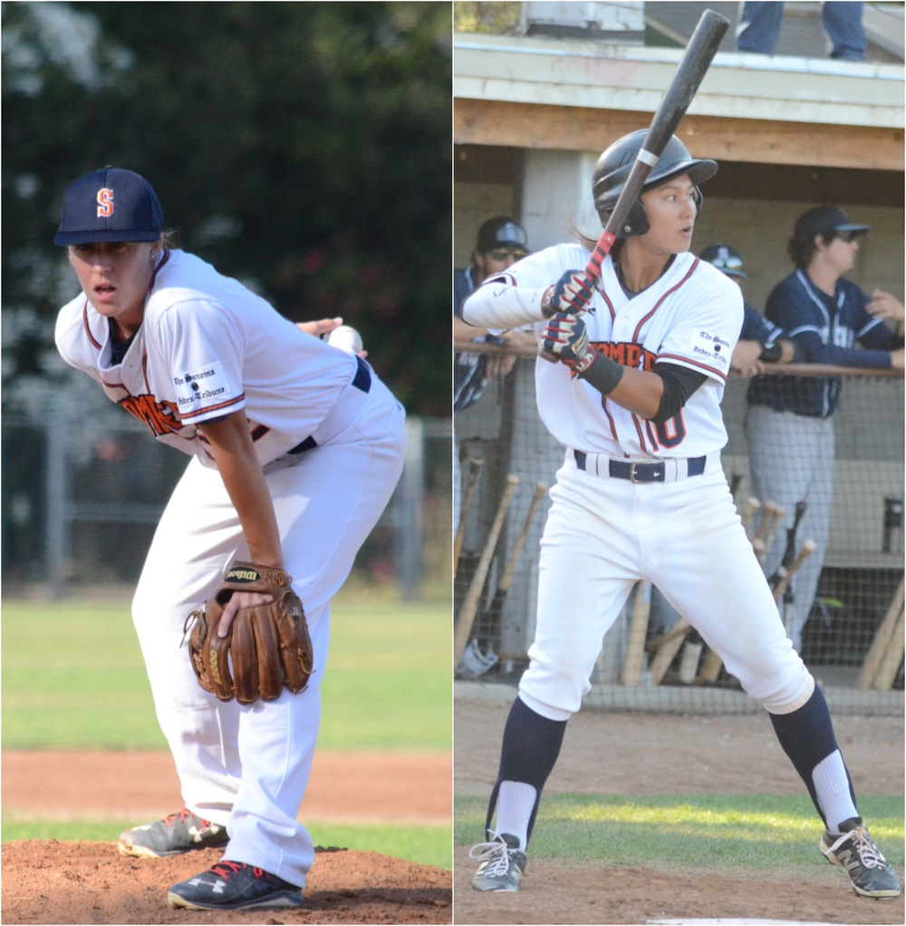 Stacy Piagno (left) and Kelsie Whitmore (right) both were in the starting lineup Friday against the San Rafael Pacifics. Sonoma became the first co-ed baseball team since the 1950s in the process.    James Toy III/Sonoma Stompers