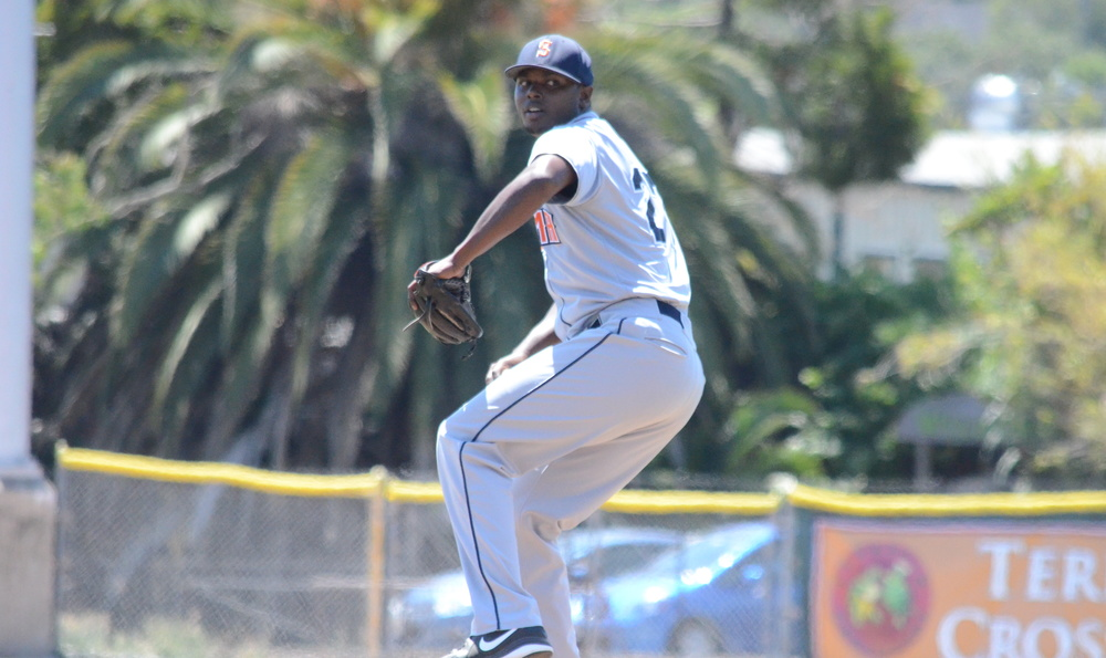 Gregory Paulino was stellar in Sonoma's first game of a home and away doubleheader Sunday in San Rafael. Paulino took a perfect game into the seventh, and pitched seven shutout innings in a 2-0 Stompers win. James Toy III/Sonoma Stompers