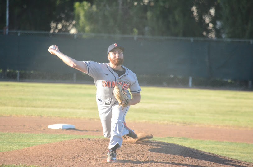 Sean Conroy turned in a performance for the ages in a 10 inning complete game for the Stompers. Conroy allowed only 6 base runners, and struck out 8 on his was to a victory for Sonoma.   James Toy III/Sonoma Stompers