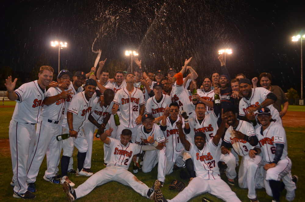 The Sonoma Stompers celebrate on Wednesday after an 8-7 win over the Pittsburg Diamonds that clinched the first half pennant in the Pacific Association. James Toy III/Sonoma Stompers