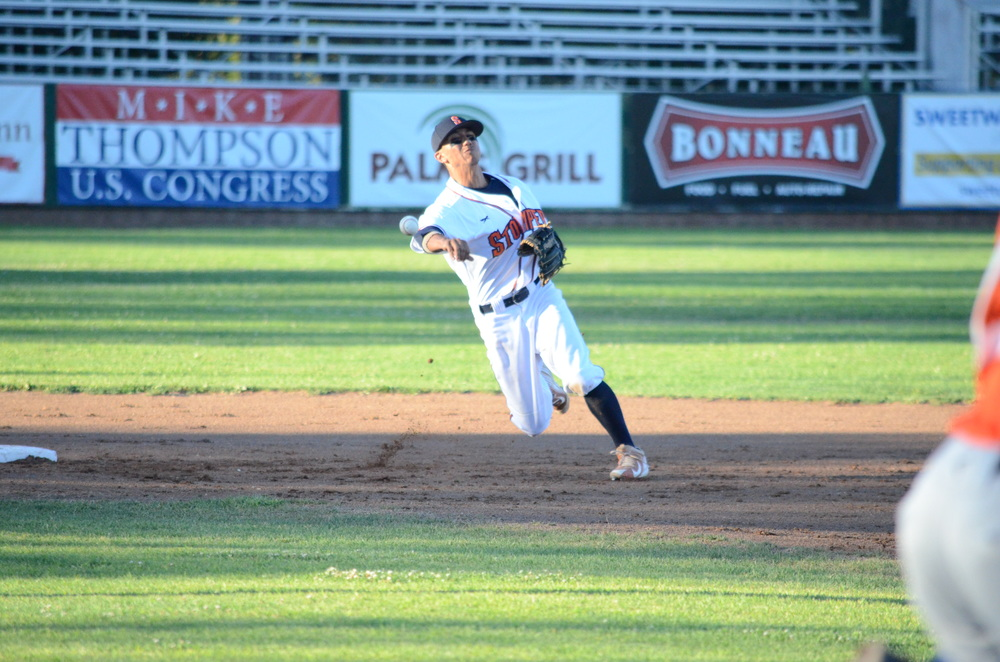 Chaz Meadows was outstanding on the field defensively, and at the plate in Sonoma's 5-2 win over Pittsburg Thursday. Meadows finished the game 3 for 4 with a double and runs scored.   James Toy III/Sonoma Stompers