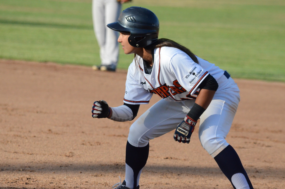 Kelsie Whitmore got her first professional hit Wednesday afternoon at Albert Park when she singled through the right side on a 3-2 pitch with two outs in the fourth inning.  James Toy III/Sonoma Stompers