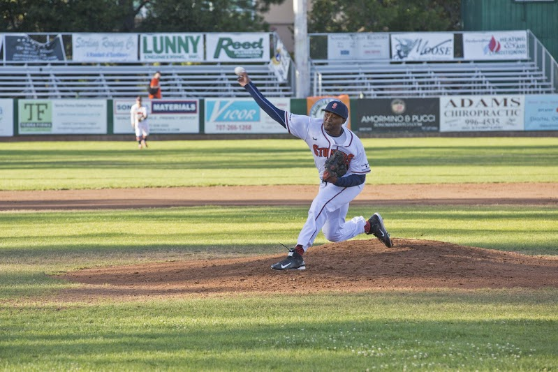 Mike Jackson Jr. turned in his third consecutive stellar performance in eight innings of work in an 8-2 win over the Diamonds on Saturday. Jackson Jr. struck out eight and allowed only three hits. James Toy III/Sonoma Stompers