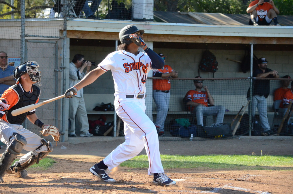 First baseman Daniel Baptista hit 2 home runs with one of them being a grand slam off Jose Canseco in a 13-2 win over the Diamonds. Baptista finished 2 for 5 with six runs driven in.  James Toy III/Sonoma Stompers