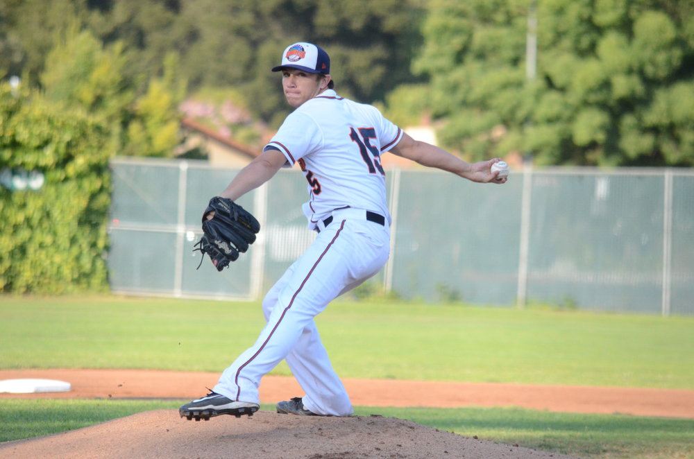 Taylor Thurber pitched six shutout innings in the Stompers 6-0 win over the Admirals Tuesday. Thurber allowed only four hits and struck out five to earn his seventh win of the season. James Toy III/Sonoma Stompers