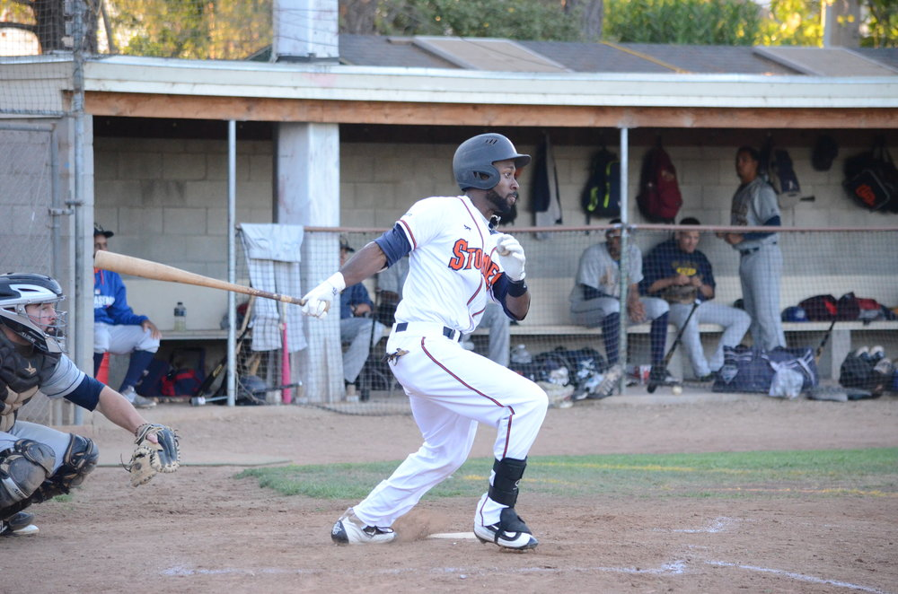 Derrick Fox was on base four times in the 8-5 loss to the Admirals Wednesday. Fox was 2 for 3 with two walks and a run scored in the game.  James Toy III/Sonoma Stompers