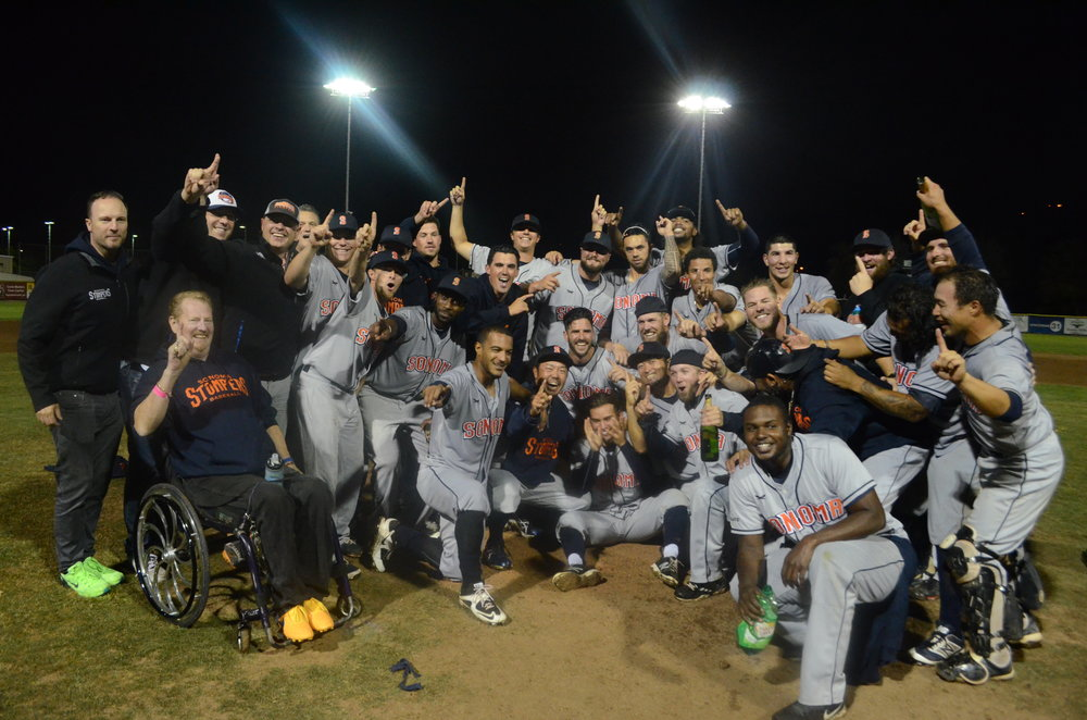 The Stompers clinched the Pacific Association title Friday in a 5-4 win over the Pacifics. It was their first title as a franchise.  James Toy III/Sonoma Stompers