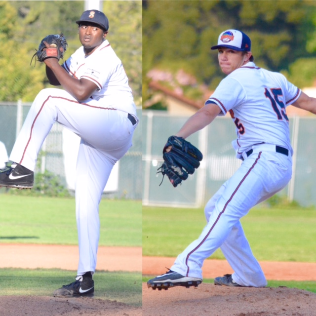 Mike Jackson Jr. (left) and Taylor Thurber (right) showed well in the Pacific Association Pitcher of the Year voting. Jackson Jr, and Thurber finished 2nd, and 3rd respectively.  James Toy III/Sonoma Stompers