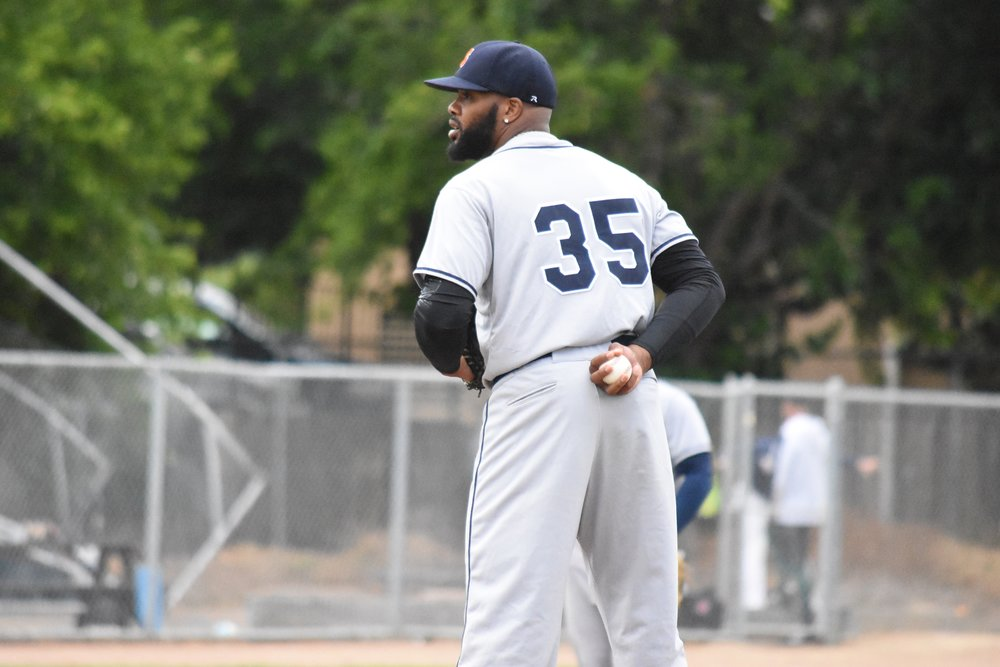 Ty'Relle Harris takes the mound for the Sonoma Stompers in Wednesday's 4-1 win over the Vallejo Admirals. (James W. Toy III / Sonoma Stompers)
