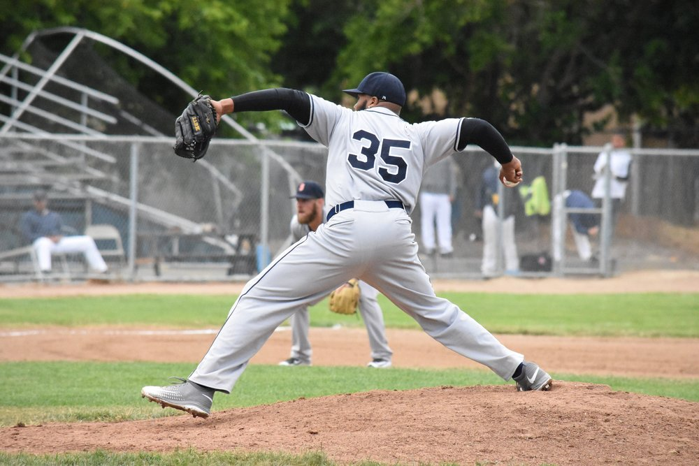 Ty'Relle Harris struck out nine and allowed just one run in his Sonoma Stompers debut Wednesday at Wilson Park. Sonoma won 4-1 over the Vallejo Admirals, remaining undefeated. (James W. Toy III / Sonoma Stompers)