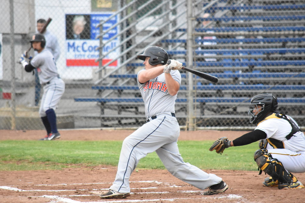 Sonoma Stompers catcher Daniel Comstock hit his first professional home run in Thursday's 6-8 loss to the Vallejo Admirals at Wilson Field. (James W. Toy III / Sonoma Stompers)