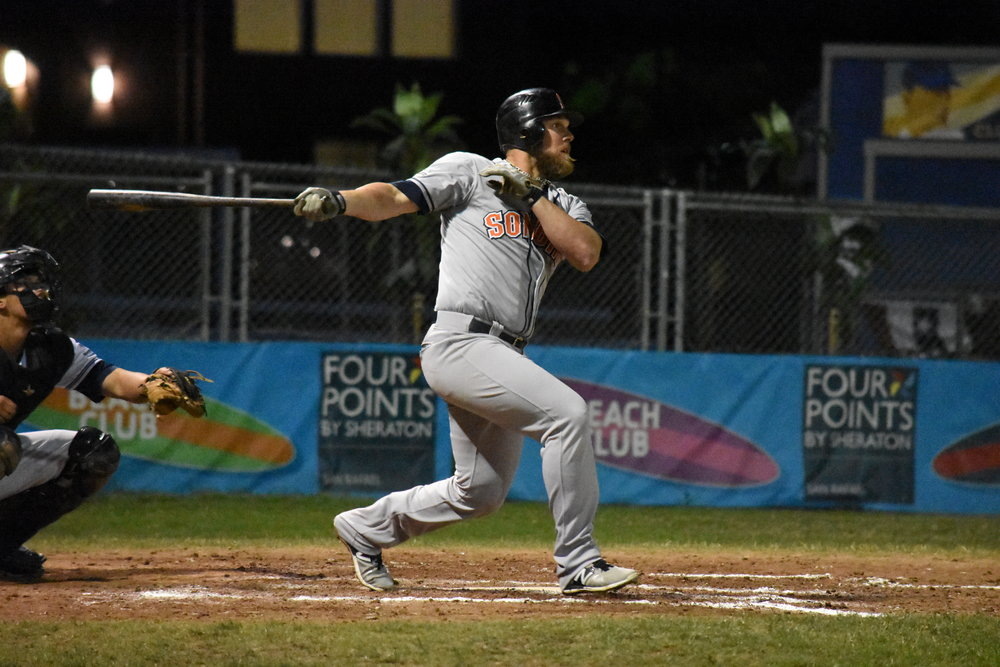 Scott David hit a pinch-hit three-run homer in the seventh inning of Sonoma's 11-6 victory over the San Rafael Pacifics on Friday night, his first of the season. (James W. Toy III / Sonoma Stompers)