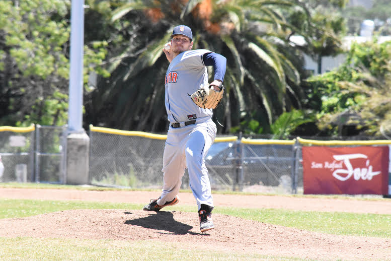 Starting pitcher Scott Plaza had his best outing Sunday in a 2-1 loss to the San Rafael Pacifics. Plaza allowed only one run on three hits and two walks in seven innings.  James Toy III/Sonoma Stompers