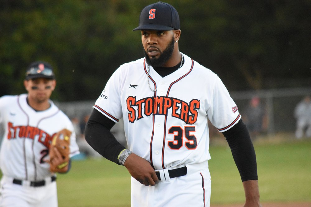 Ty'Relle Harris cruised to a win in the Sonoma Stompers' home opener Tuesday against the Vallejo Admirals, allowing two runs but striking out 11 through six innings. (James W. Toy III / Sonoma Stompers)
