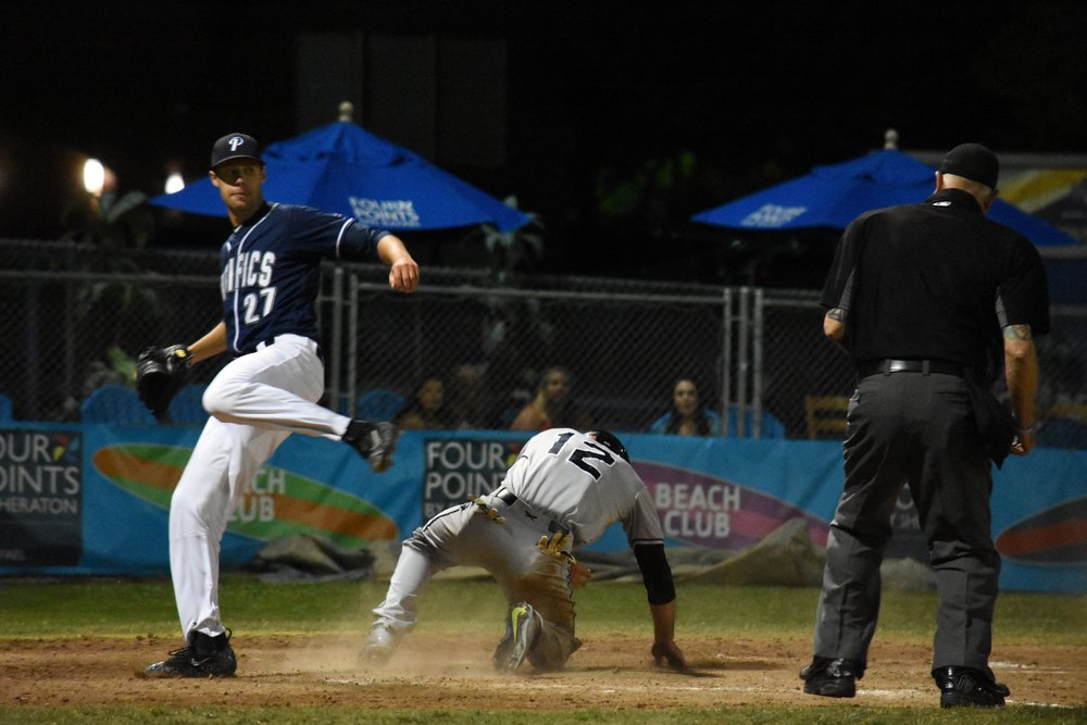 Brennan Metzger slides into home to put the Sonoma Stompers ahead 4-3 in the top of the seventh inning in Friday's 8-4 loss to the San Rafael Pacifics. (James W. Toy / Sonoma Stompers)