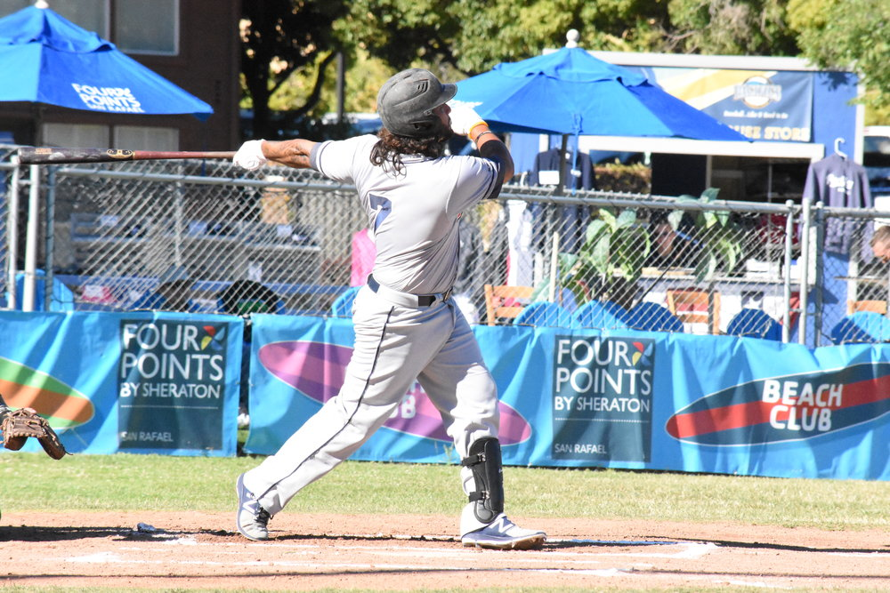 Joel Carranza hit a home run in the first inning of Saturday's 20-11 victory over the San Rafael Pacifics at Albert Park. The jack tied the Pacific Association record for career home runs. (James W. Toy III / Sonoma Stompers)