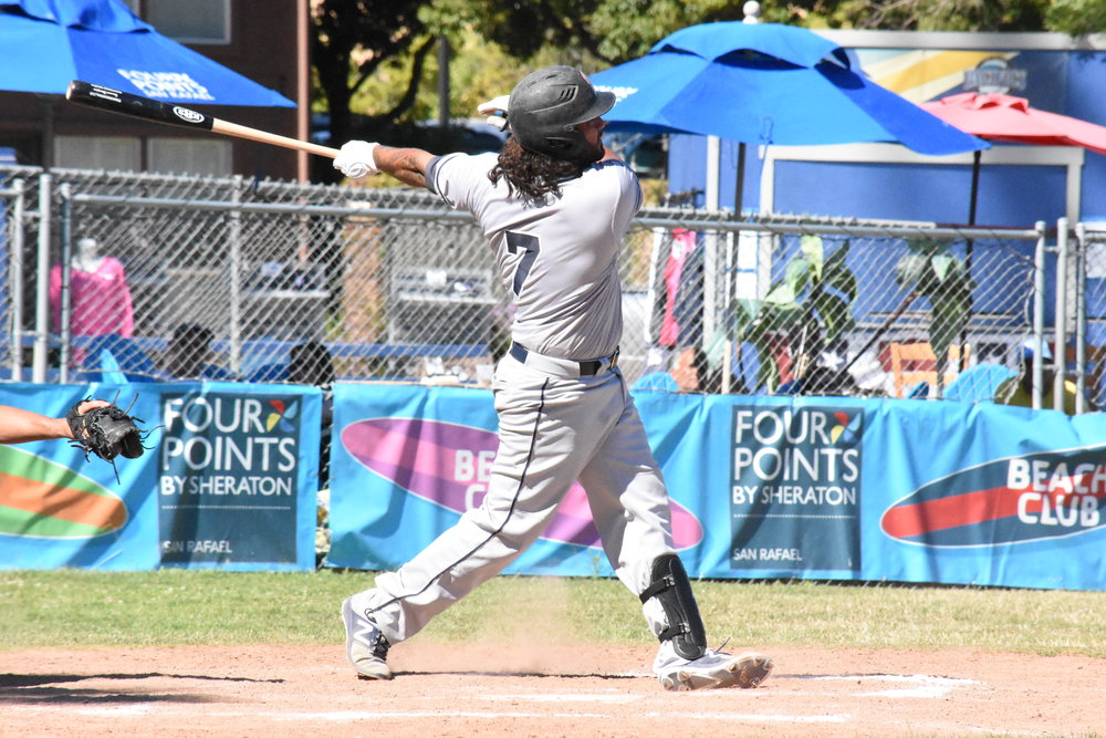 Joel Carranza had four hits, including a two-run home run in the ninth lifting the Sonoma Stompers to a 5-3 win over the San Rafael Pacifics at Albert Park in San Rafael on Sunday. The home run was the 47th of Carranza's Stompers career, and he is now the all-time leader in career homers in the Pacific Association. (James W. Toy III / Sonoma Stompers)