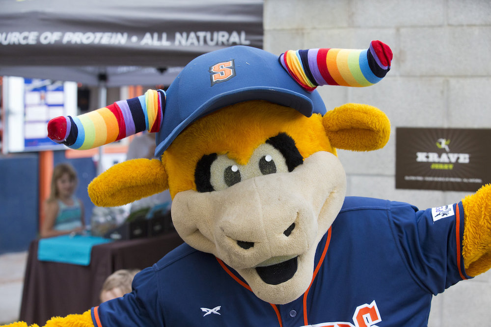 "Rawhide dons rainbow-colored horns in honor of ""Out at the Ballpark""and LGBTQ Night at Peoples Home Equity Ballpark at Arnold Field during the 2016 season. (James W. Toy III / Sonoma Stompers)"