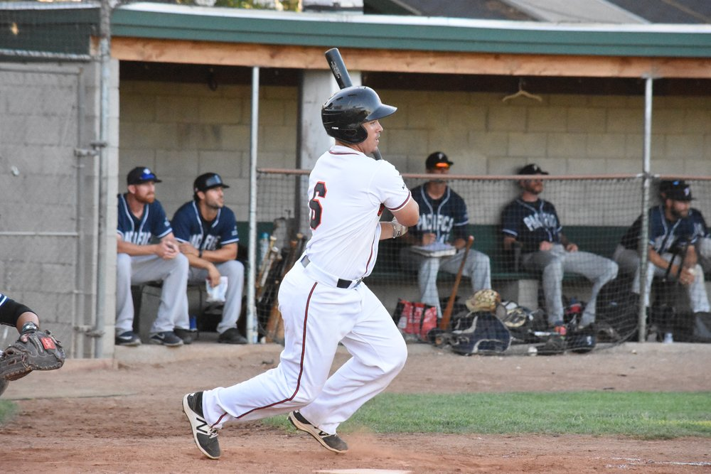 Daniel Comstock rocketed a triple to the corner in center field to put the Stompers up 7-1 in the sixth inning of Friday's 11-3 win over the San Rafael Pacifics at Peoples Home Equity Ballpark at Arnold Field. (James W. Toy III/ Sonoma Stompers)
