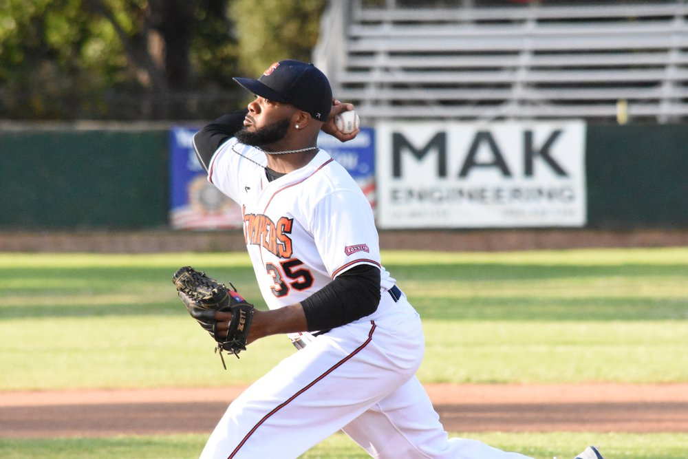 Sonoma Stompers starter Ty'Relle Harris struck out 11 and retired 14 batters in a row at one point during the Stompers' 4-6 loss to the San Rafael Pacifics Sunday at Peoples Home Equity Ballpark at Arnold Field. (James W. Toy / Sonoma Stompers)