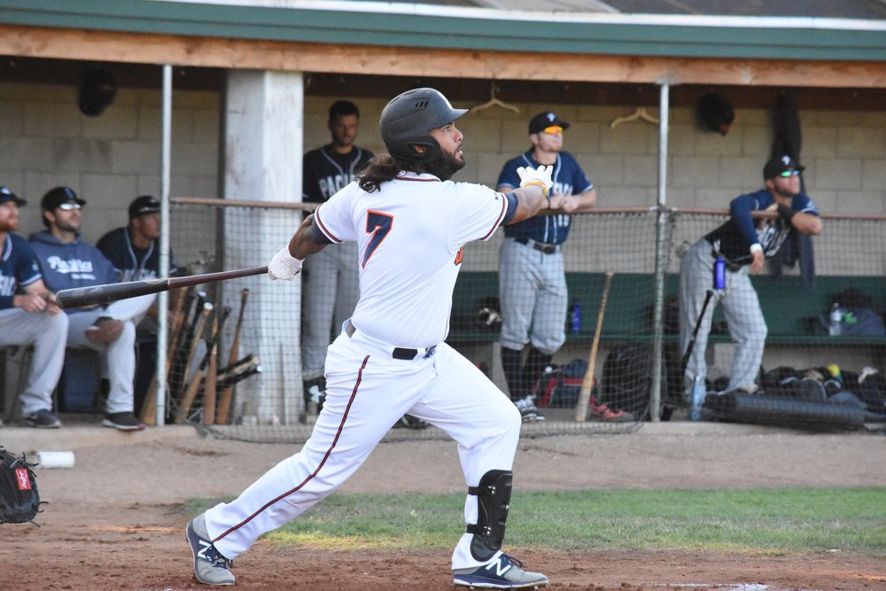 Joel Carranza hit a three-run home run in the first inning of Thursday night's 10-6 victory over the San Rafael Pacifics at Peoples Home Equity Ballpark at Arnold Field. (James W. Toy III / Sonoma Stompers)