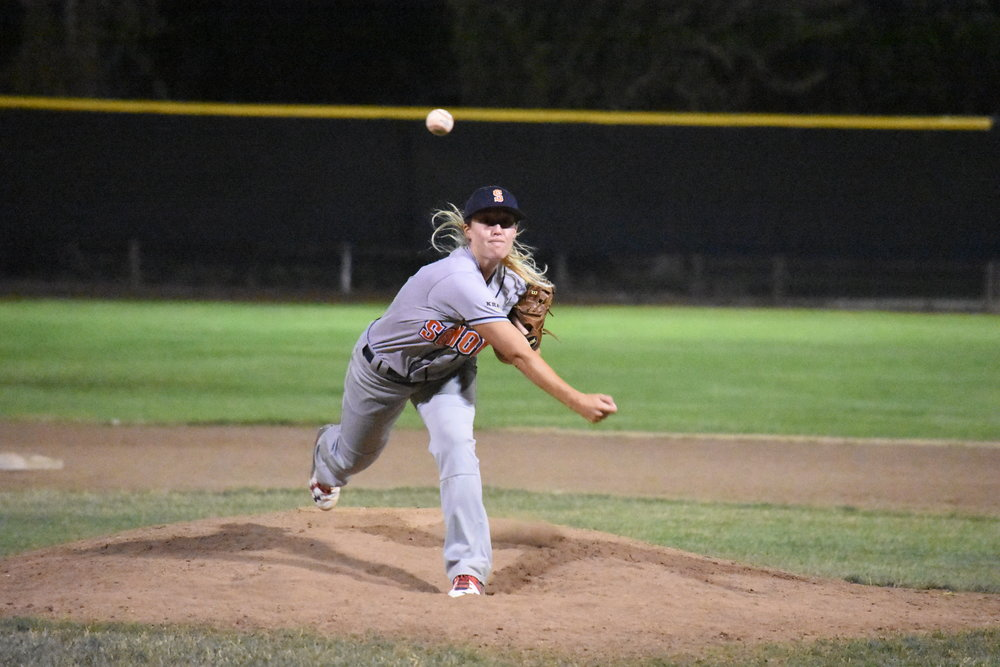 Stacy Piagno recorded the last out of the Sonoma Stompers 13-4 victory over the Vallejo Admirals Friday at Wilson Park. (James W. Toy III / Sonoma Stompers)