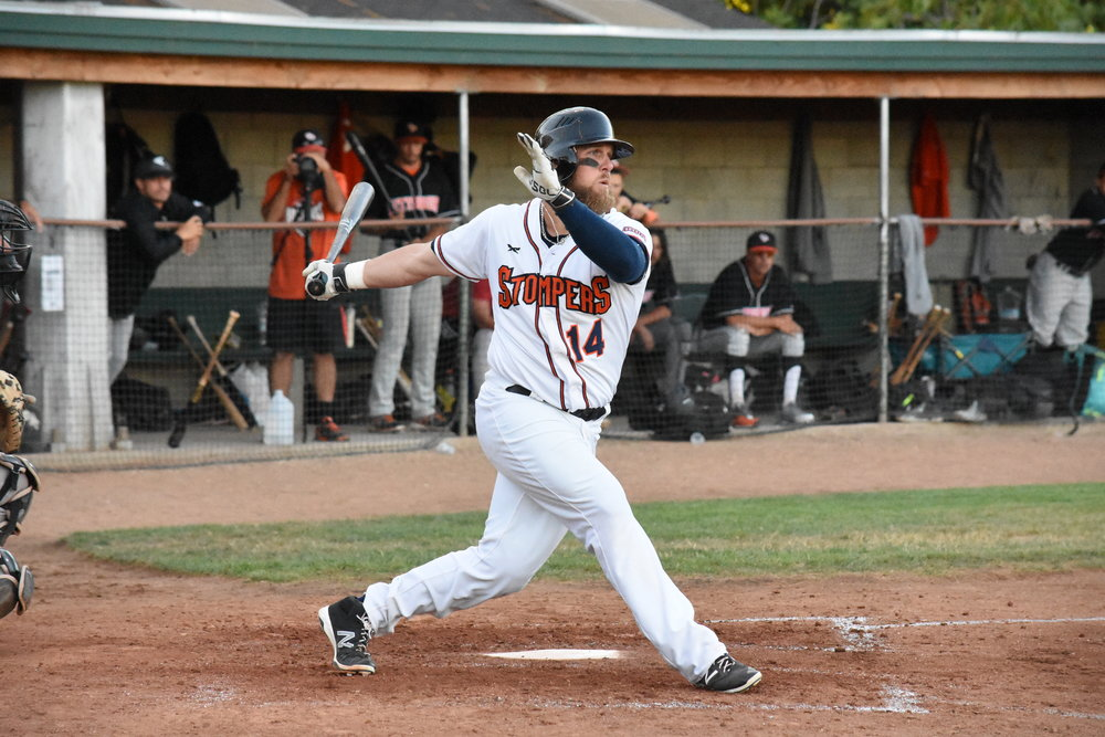 Attached photo caption and credit: Sonoma Stompers first baseman Scott David drove in the Stompers' only two RBIs in Wednesday night's 5-4 loss to the Pittsburg Diamonds. (James W. Toy III / Sonoma Stompers.