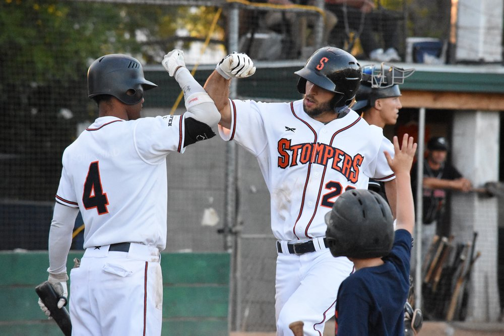 Brennan Metzger (right) hit a two-run home run in the Sonoma Stompers' 6-5 loss to the Pittsburg Diamonds on Thursday. (James W. Toy III, Sonoma Stompers)
