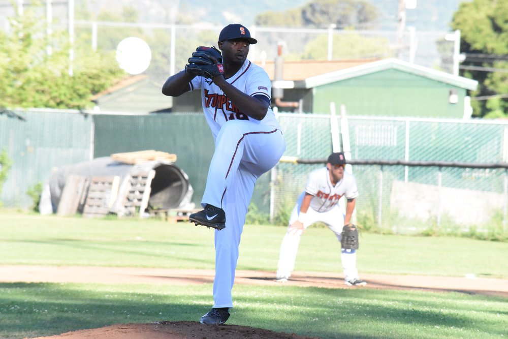 Mike Jackson Jr. struck out nine in his six-inning outing in the Sonoma Stompers' 5-1 win over the Vallejo Admirals on Friday at Peoples Home Equity Ballpark at Arnold Field. (James W. Toy III / Sonoma Stompers)