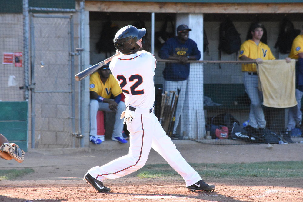Brennan Metzger homered for his second time in three games in Saturday night's 6-5 loss to the Vallejo Admirals at Peoples Home Equity Ballpark at Arnold Field. (James W. Toy / Sonoma Stompers)