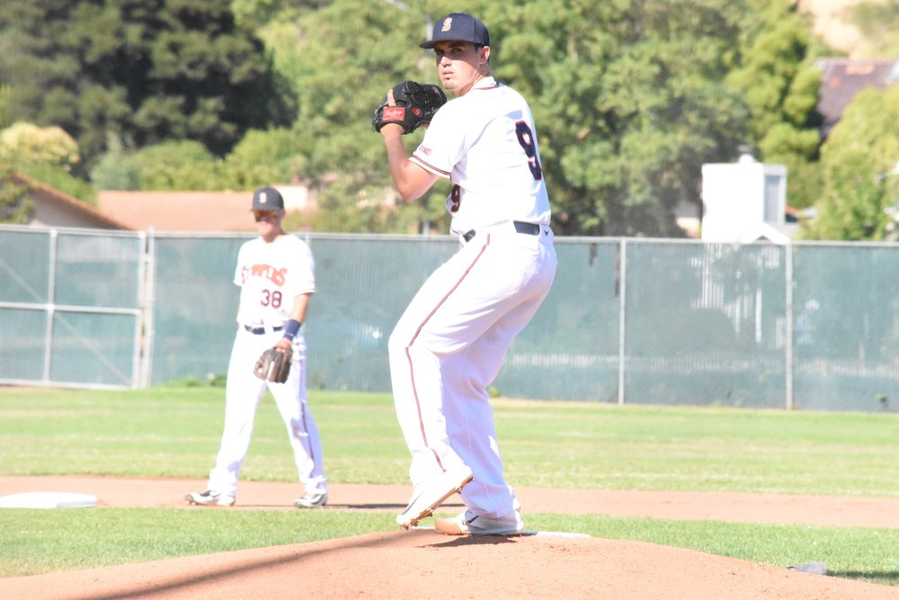 Juan Espinosa struck out eight Vallejo Admirals in the Sonoma Stompers' 4-0 loss Sunday night at Peoples Home Equity Ballpark at Arnold Field. (James W. Toy III / Sonoma Stompers)
