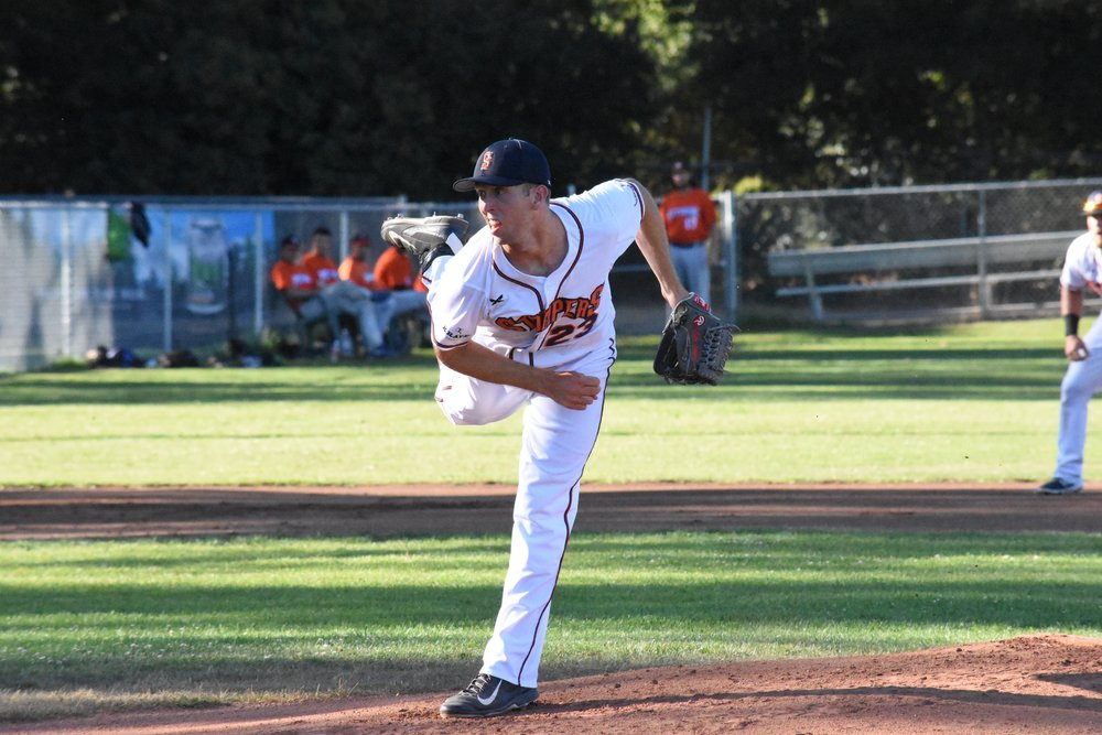 Tyler Garkow tied the franchise record for strikeouts in a game for the second time on Friday at Peoples Home Equity Ballpark at Arnold Field. (James W. Toy III / Sonoma Stompers)