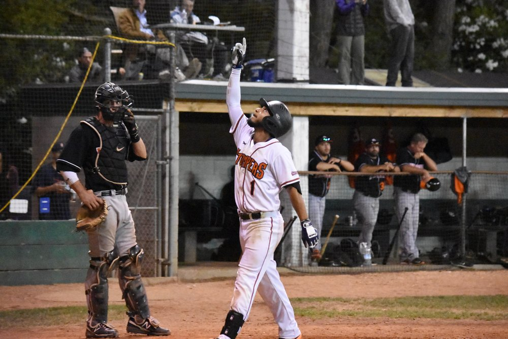 Matt Hibbert hits a home run in the seventh inning of Friday night's 10-1 victory over the Pittsburg Diamonds at Peoples Home Equity Ballpark. (James W. Toy III / Sonoma Stompers)