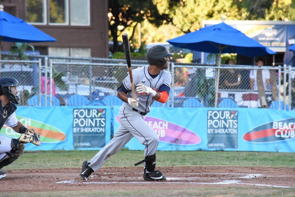 Marcus Bradley went 2 for 2 with three walks in Wednesday's 8-7 loss to the San Rafael Pacifics at Albert Park. (James W. Toy III / Sonoma Stompers)