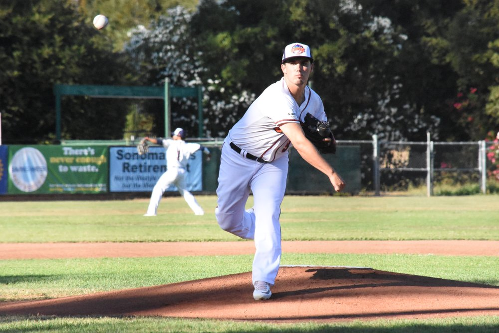 Juan Espinosa ties his record for strikeouts in a game against San Rafael on Friday at People's Home Equity Ballpark. (James W. Toy III / Sonoma Stompers)