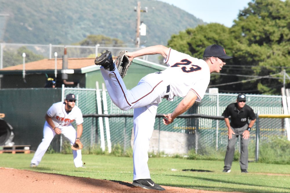 Starter Tyler Garkow delivers in a hard-fought 1-0 loss against the San Rafael Pacifics at People's Home Equity Ballpark. (James W. Toy III)