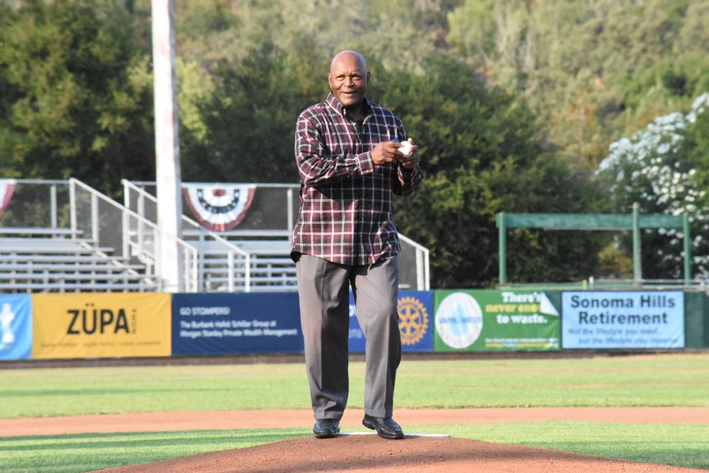 Three-time World Series Champion Vida Blue was on hand at Peoples Home Equity Ballpark Wednesday night to share insight with Sonoma Stompers players, throw out the first pitch and mingle with fans. (James W. Toy III / Sonoma Stompers)