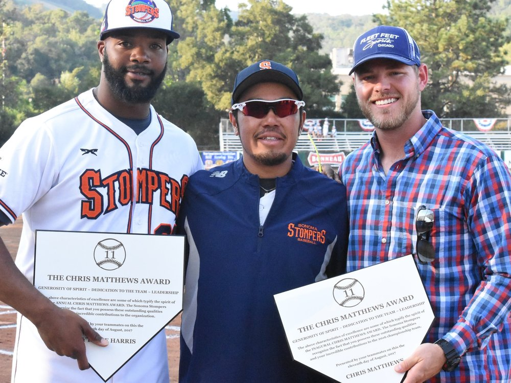 Pitcher Ty'Relle Harris and 2016 bench coach Chris Matthews pose with manager Takashi Miyoshi after accepting their Chris Matthews Awards in a pre-game ceremony on Friday. (James W. Toy III / Sonoma Stompers)