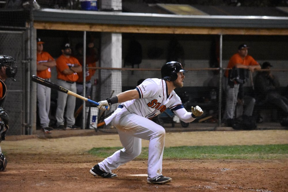 Scott David gave the Sonoma Stompers the lead with a three-run triple in the eighth inning of Saturday's 11-7 comeback win over the Pittsburg Diamonds. (James W. Toy III / Sonoma Stompers)