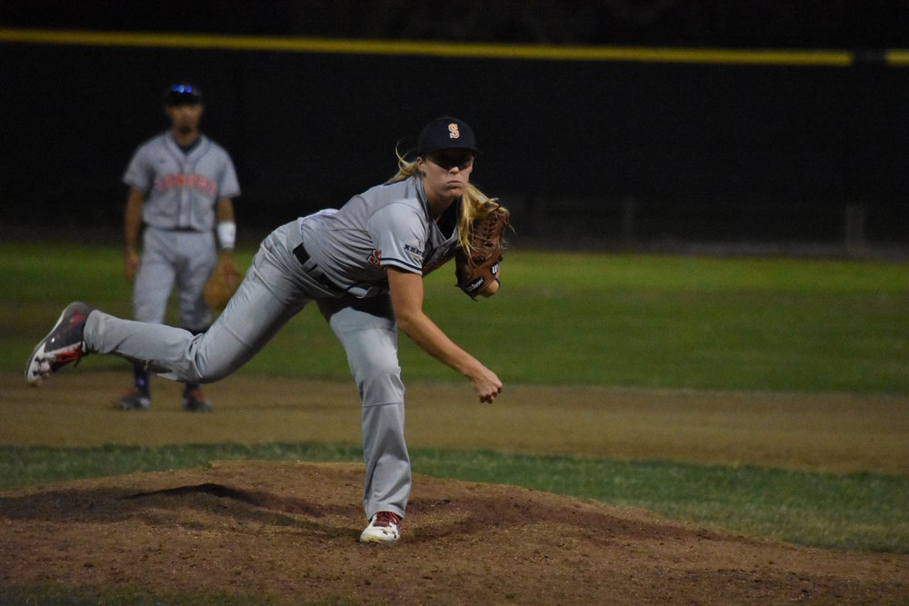 Stacy Piagno pitched a scoreless inning of work in Wednesday's 13-6 loss to the Vallejo Admirals at Wilson Park. (James W. Toy III / Sonoma Stompers)