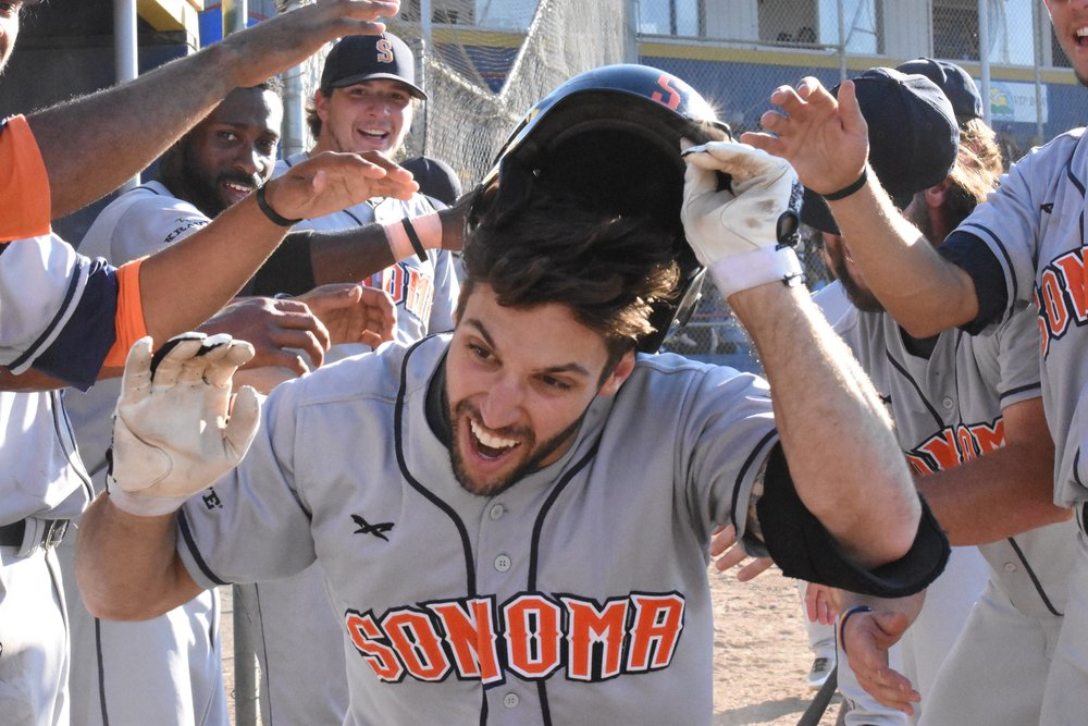 Brennan Metzger hit two home runs in Saturday's 9-5 win over the Vallejo Admirals at Wilson Park. (James W. Toy III / Sonoma Stompers)