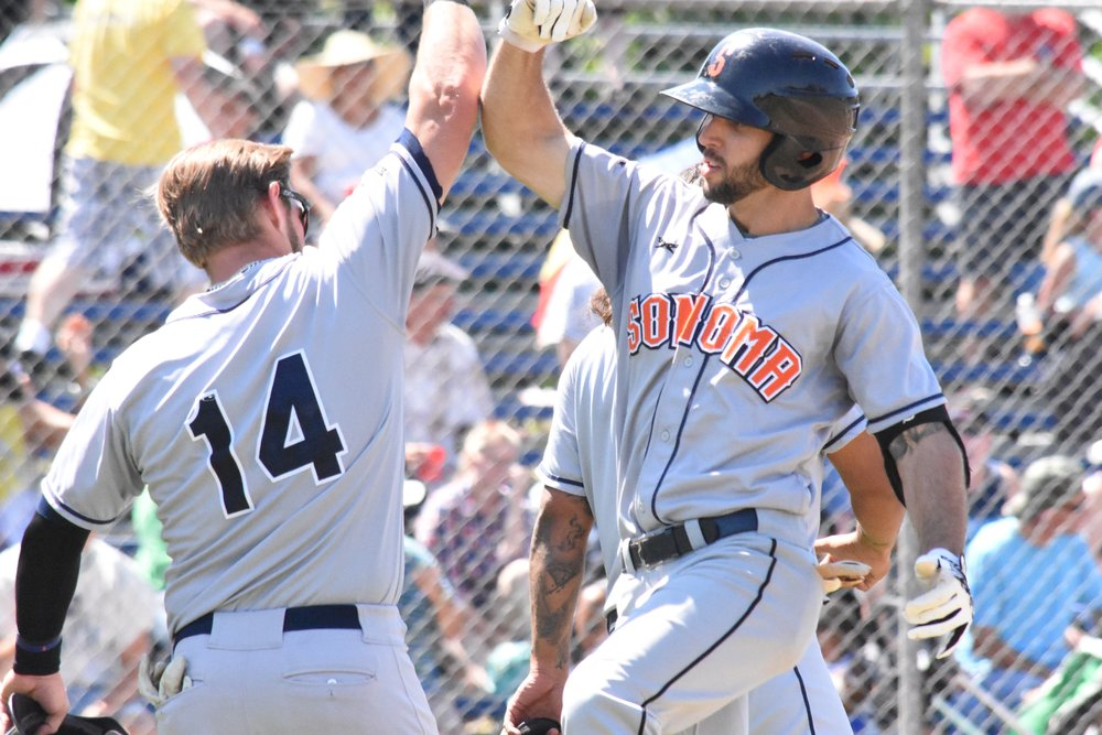 Scott David (left) and Brennan Metzger (right) both homered in Sunday's 6-4 win over the Vallejo Admirals at Wilson Park, putting the Sonoma Stompers in a tie for first place. (James W. Toy III / Sonoma Stompers)