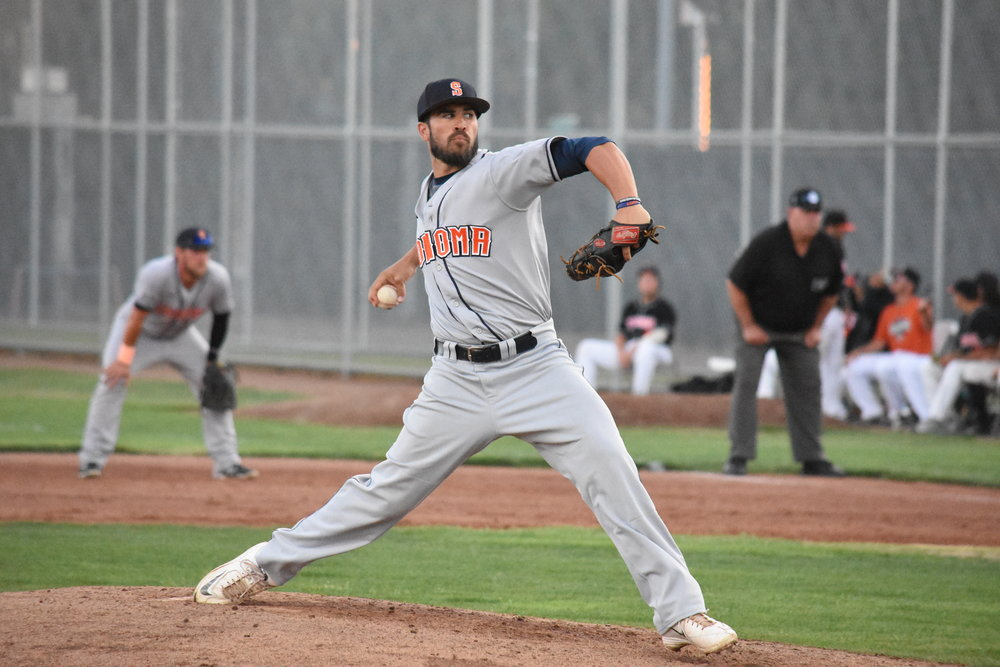 Starter Erik Gonsalves pitched a complete-game, four-hit shut out in the Sonoma Stompers' 8-0 victory over the Pittsburg Diamonds at Winter Chevrolet Stadium on Tuesday. (James W. Toy III / Sonoma Stompers)