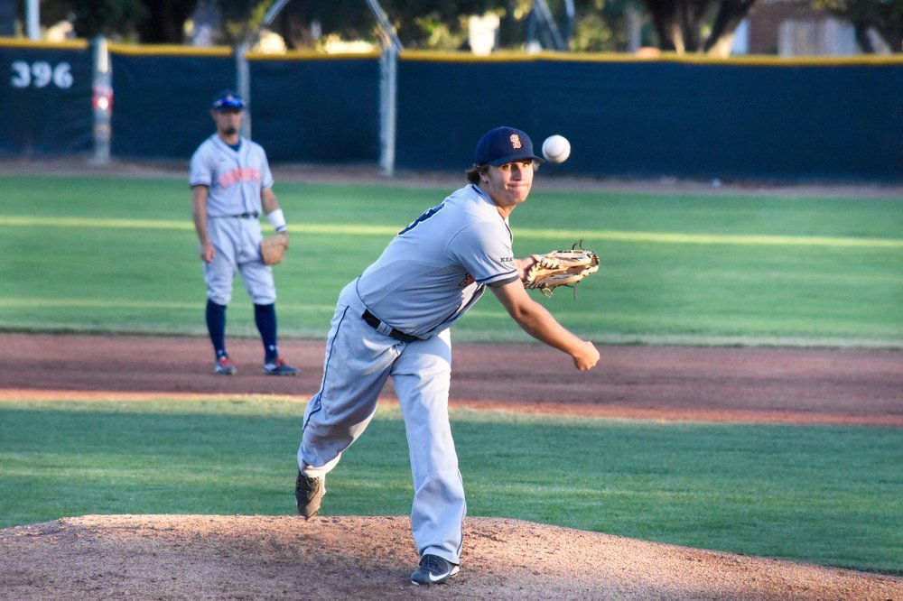 Taylor Thurber pitched six and two-thirds innings of one-run, three-hit ball in the Sonoma Stompers' 7-1 victory over the Pittsburg Diamonds at Winter Chevrolet Stadium on Wednesday. (James W. Toy III / Sonoma Stompers)