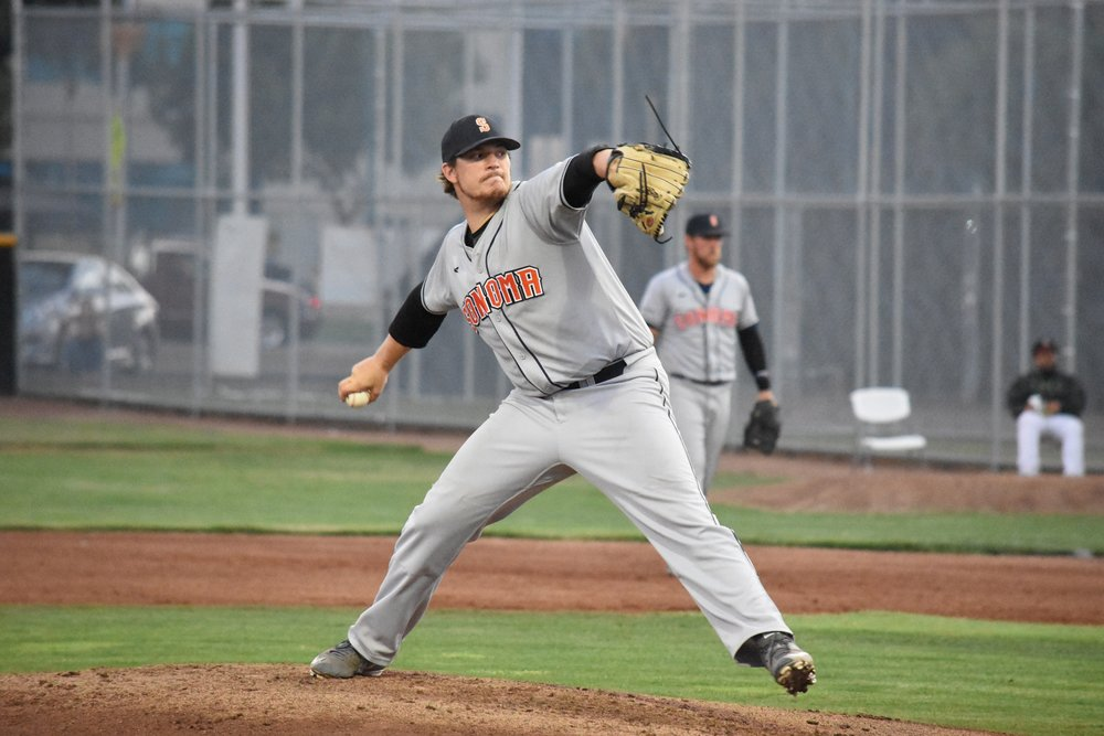 Attached photo caption and credit: Scott Plaza pitched seven strong innings in Thursday's 5-4 victory over the Pittsburg Diamonds at Winter Chevrolet Stadium. (James W. Toy III / Sonoma Stompers)