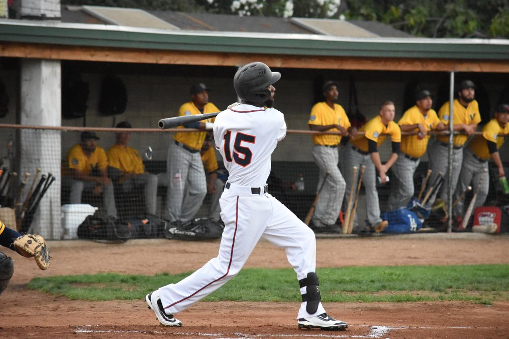 Derrick Fox went 3 for 6 in Friday's Pacific Association Championship Game at Peoples Home Equity Ballpark at Arnold Field. (James W. Toy III / Sonoma Stompers)