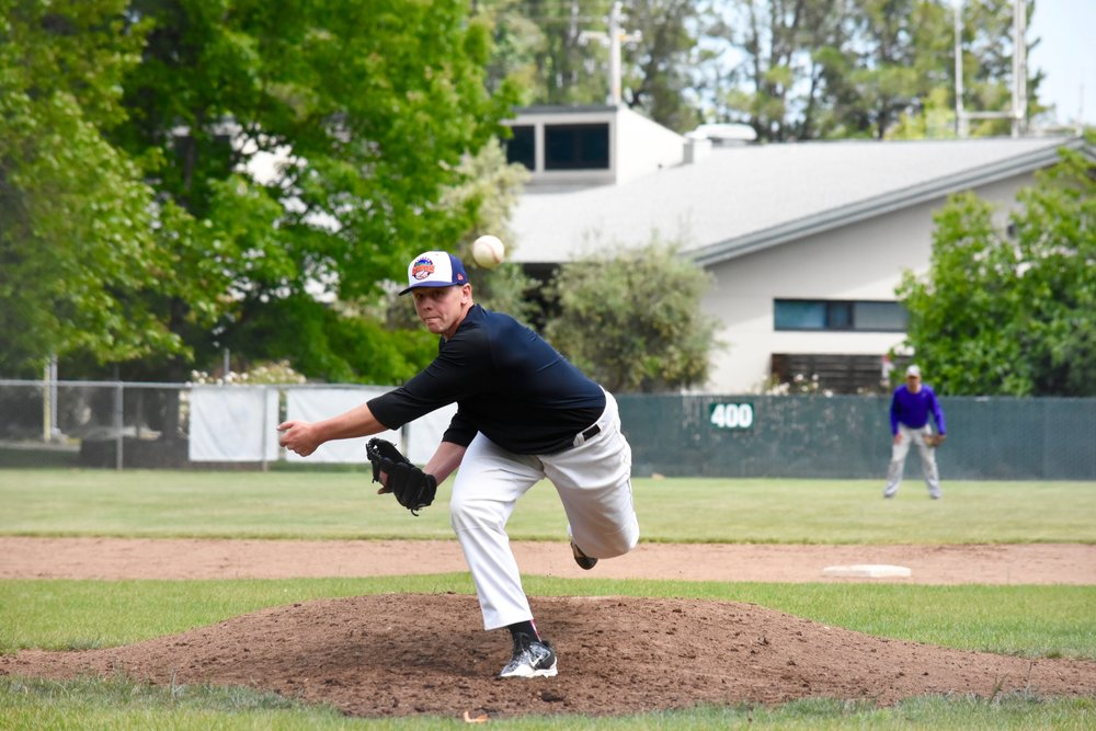 Returner Zach Wendorf throws a pitch at Petersen Field in Sonoma during Sonoma Stompers spring training. (James W. Toy III / Sonoma Stompers)